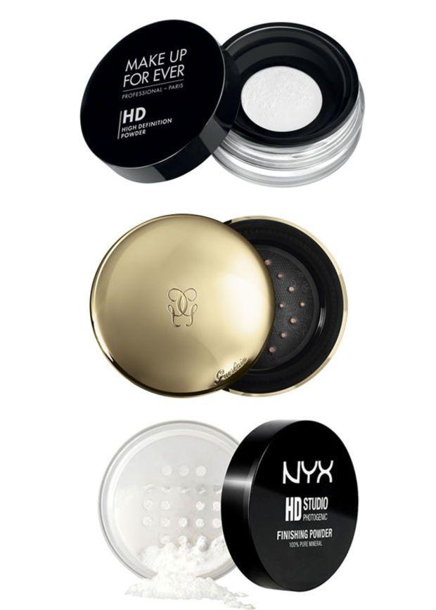 from top: Make Up Forever HD Microfinish Powder ($35), Guerlain Mattifying Translucent Powder ($59), NYX HD Finishing Powder ($9.99)