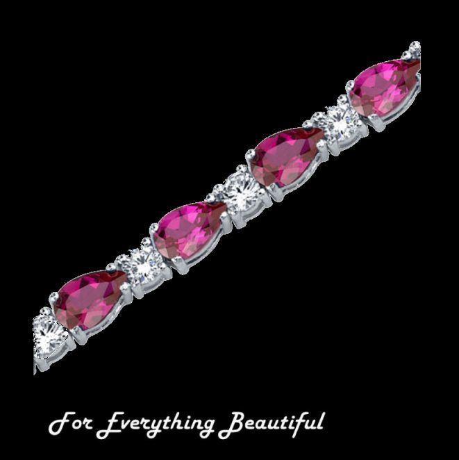 Ruby Pear Cut Round Cubic Zirconia Sterling Silver Bracelet