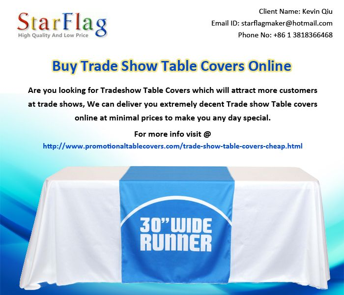 Are you looking for Tradeshow Table Covers which will attract more customers at trade shows, We can deliver you extremely decent Trade show Table covers online at minimal prices to make you any day special.
