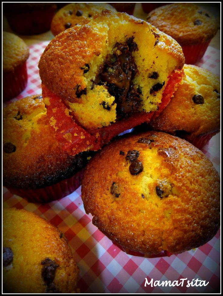 my vanilla cupcakes stuffed with nutella and choco chips