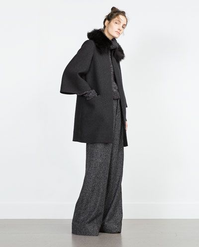 Image 1 of COAT WITH FURRY COLLAR from Zara