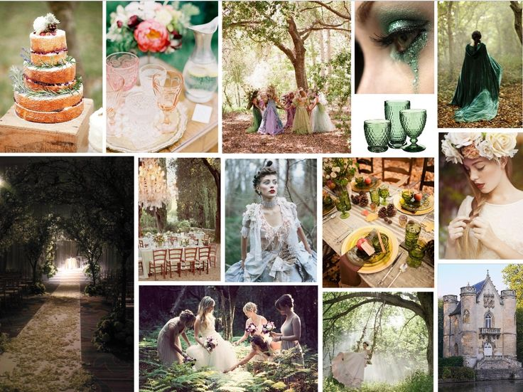 ENCHANTED NIGHTS WEDDINGS We are in the mood for summer's romance.  Twilight skies, chirping crickets, gentle evening breezes and the whimsy of an ancient wood and fairytale castle, have inspired us to bring you this week's Enchanted Wedding mood board.  Let this wedding theme take you away, quite literally, to another magical world.  www.katherinecourtney.com