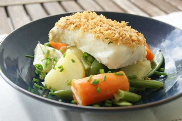 Panko crusted cod with vegetable stew/ myfoodpassion.net