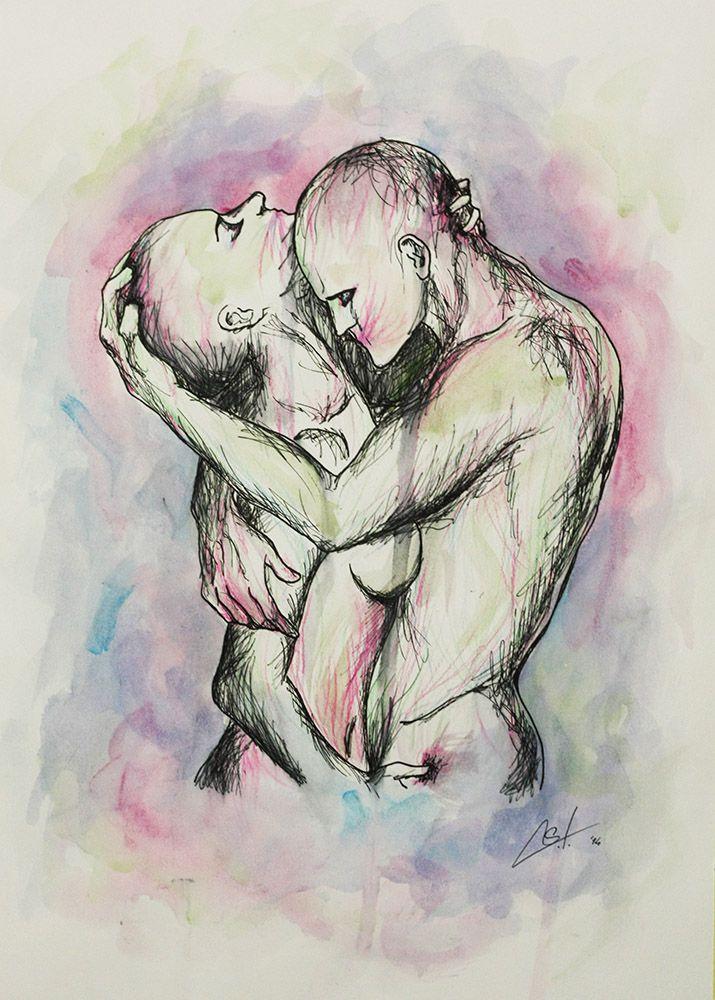 ABOLIZIONE SEBIANA TRIGILA Acquerello e china su carta 42 x 30 2014   L 'incontro tra due corpi si pone come principale tramite tra il sé e l'altro..