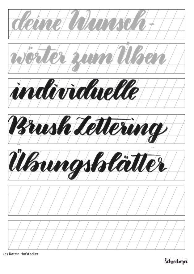 bungsblatt f r brush lettering papier lernen und pinselschrift. Black Bedroom Furniture Sets. Home Design Ideas