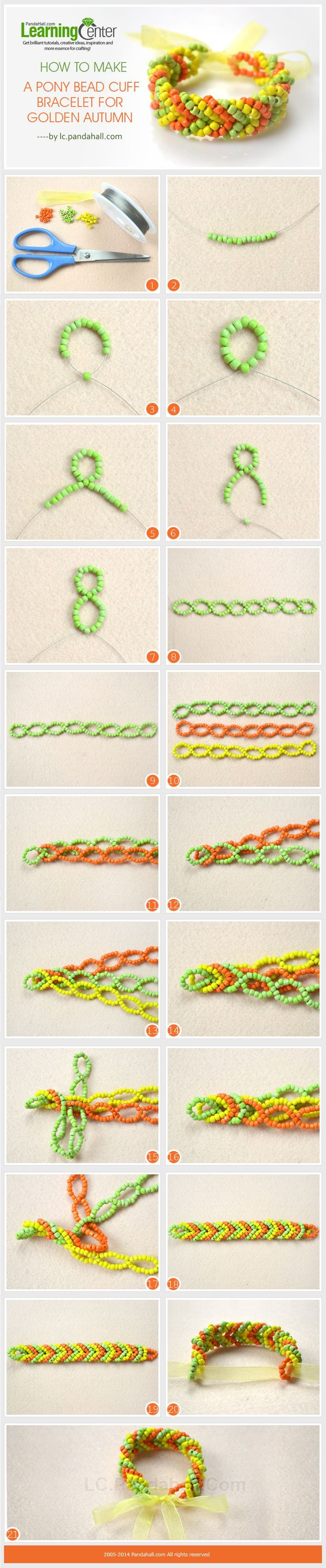 """Tutorial :: Pony bead """"chevron"""" cuff bracelet. . . . ღTrish W ~ https://www.pinterest.com/trishw/ . . . . #handmade #jewelry #beading"""