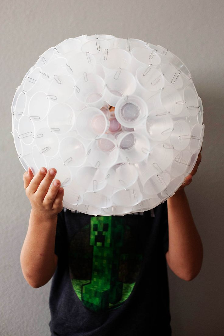DIY sphere made from plastic cups. from All for the Boys blog - or a dandelion seed head?