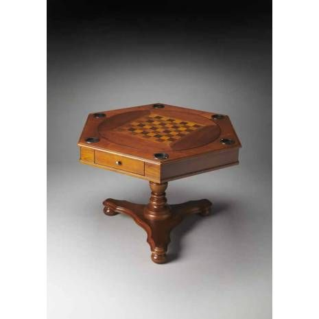 Hexagonal Olive Ash Burl Green Felt Game Table With Removable Insert