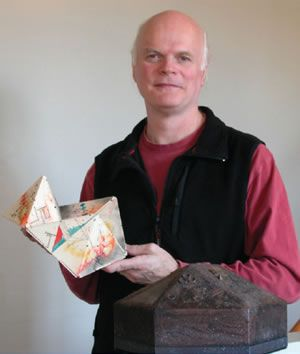 Bookbinder Daniel E. Kelm with one of his Artist's Books