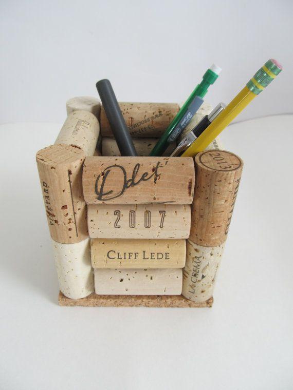 Tappi di sughero matita portapenne accessorio di LizzieJoeDesigns