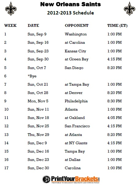 Printable New Orleans Saints Football Schedule