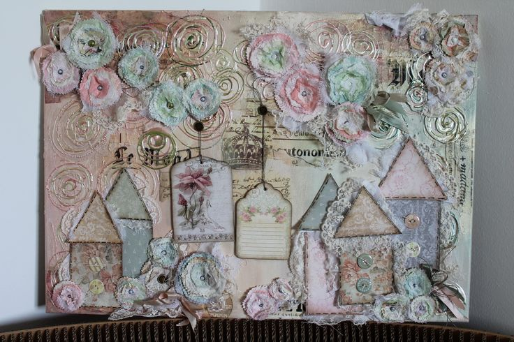 Canvas with mixed technique of decoupage and scrapbooking~ Καμβάς με μεικτή τεχνική decoupage και scrapbooking