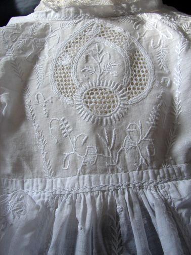 Fine 19th C. Chikan Whitework Christening Gown
