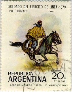 Stamp of Argentina showing a Gaucho. Gaucho is a 'cowboy' of the South American pampas, Gran Chaco, or Patagonian grasslands, found mainly in Argentina, Uruguay, Paraguay, Southeastern Bolivia, Southern Brazil and Southern Chile.