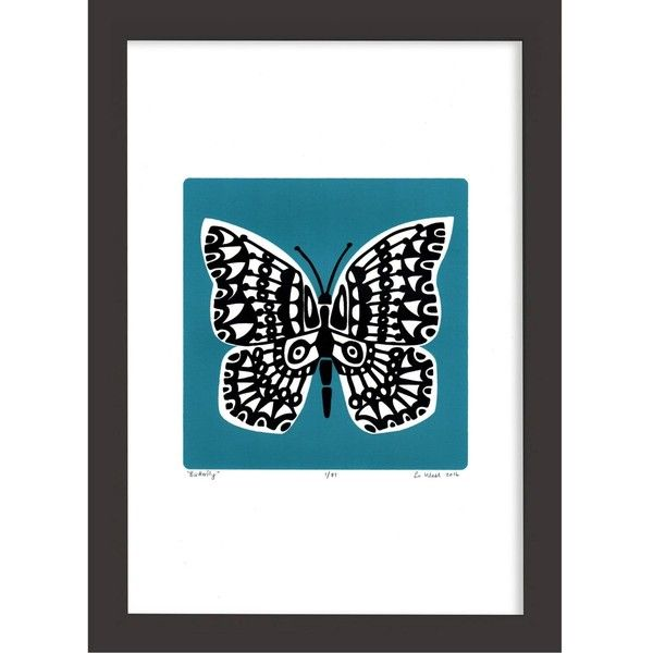 Lu West - Butterfly Print in Slate Teal (54 AUD) ❤ liked on Polyvore featuring home, home decor, wall art, unframed wall art, teal home accessories, butterfly home decor, butterfly framed wall art and teal blue home decor