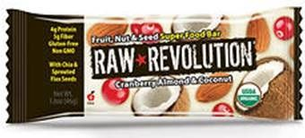 A bulk box of 12 bars of Raw Revolution Cranberry Almond & Coconut.