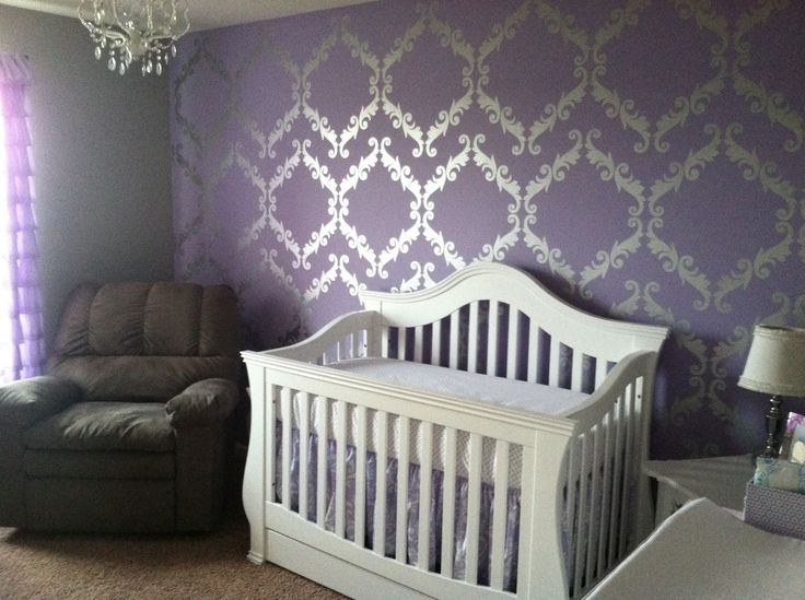 #Purple, metallic #silver and white baby girl's #nursery.  Love the walls, unique!