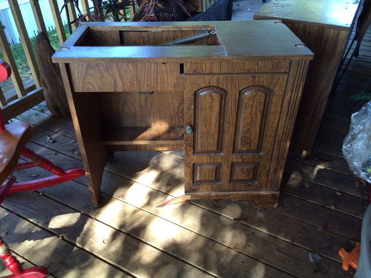 Before - vintage sewing machine cabinet
