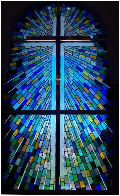 Beautiful Stained Glass Window With Cross