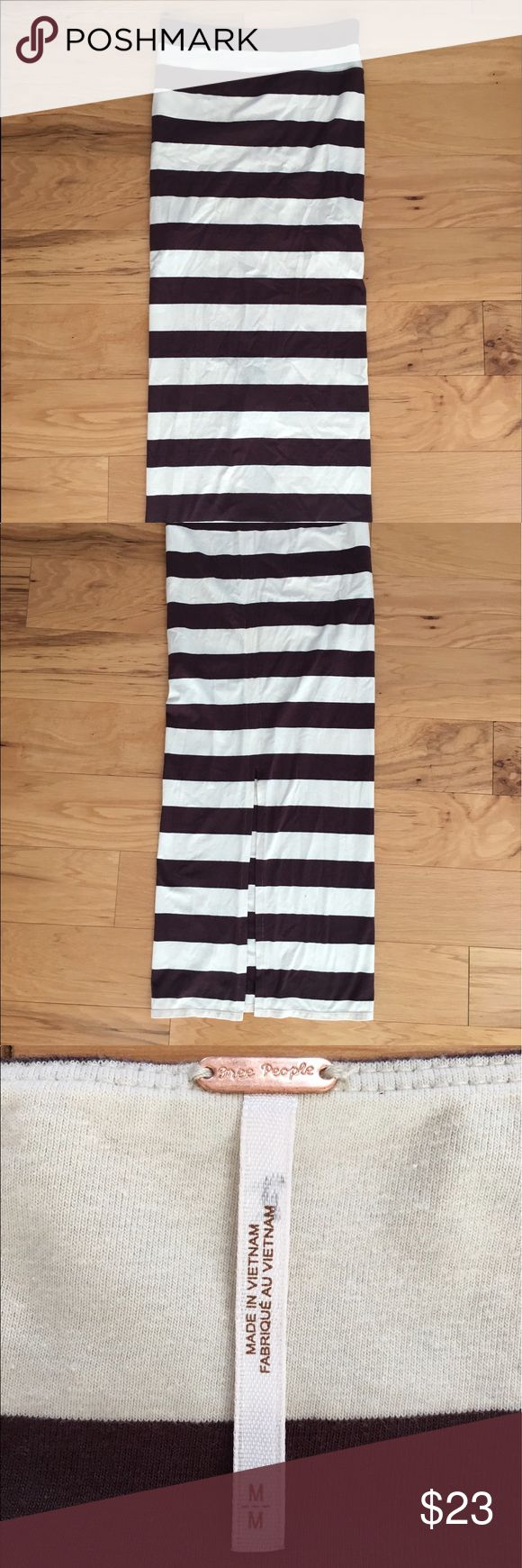 """Free People Tan Brown Striped Fitted Maxi Skirt M Women's free people striped maxi skirt with slit in the back. • size medium •Length 42"""" ~ Slit Length 18"""" ~ Width 15"""" Free People Skirts Maxi"""