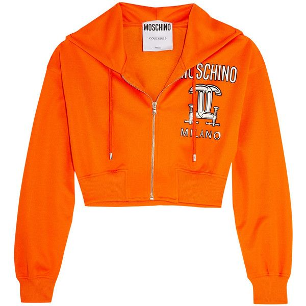 Moschino Cropped printed jersey hooded top ($455) ❤ liked on Polyvore featuring tops, orange, shirts, zipper top, hooded top, orange shirt, zipper shirt and moschino