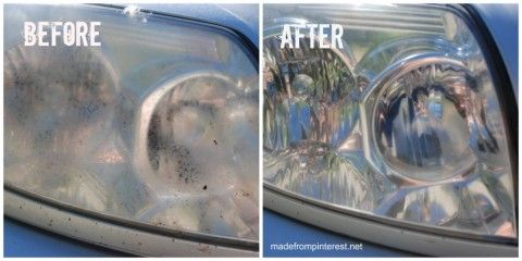 Who says Pinterest is just for ladies?  Here is a great pin for the man in your life.  With Father's Day fast approaching, why not clean his car headlights?  With just one ingredient and very little elbow grease! madefrompinterest.net