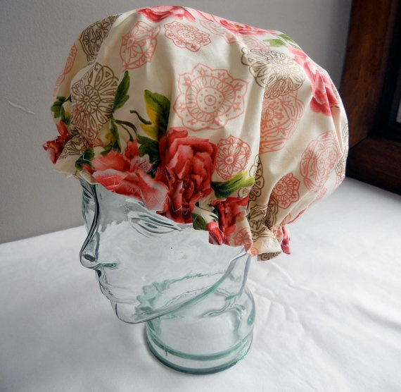 Retro Shower Cap  Vintage Pink Roses with by GildedXRoseXStudio