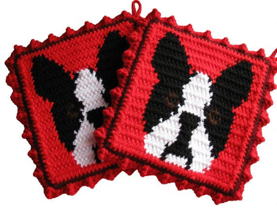 Boston Terrier Pot Holder Set.  Red potholders with by hooknsaw, $19.00