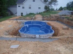 semi inground pools | Inground fiberglass pools are easier to install than concrete pools.