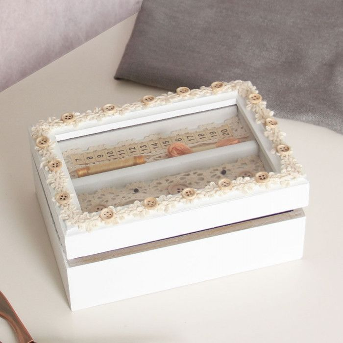 This Beautiful Rectangular Shaped Sewing Storage Box Is Made From Wood And  Finished In Antique Ivory Shade. This Wooden Vintage Style Sewing Box Comes  ...