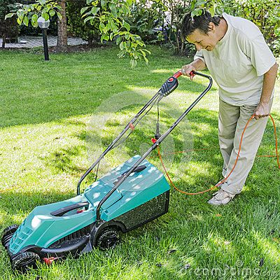 Mowing the lawn in the garden . Gardening.