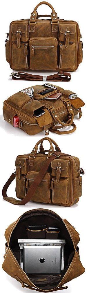 Handmade Vintage Leather Business Travel Bag, Messenger, Duffle Bag, Weekend Bag, Briefcase