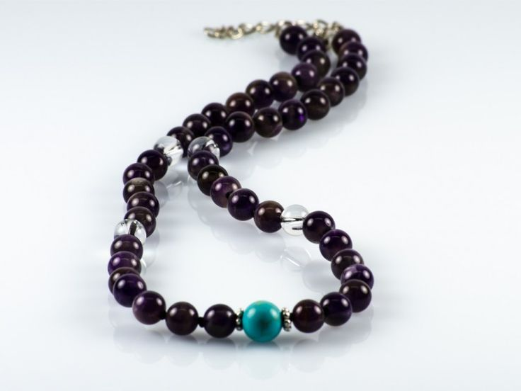 Natural Amethyst, Quartz & Turquoise Gemstone Knotted Necklace   The Beaded Garden