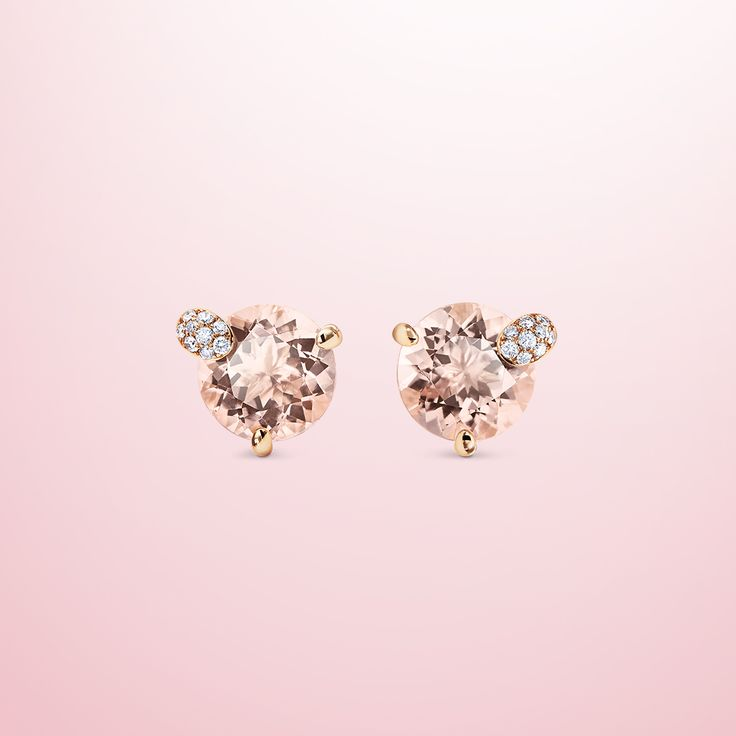 Earrings - 18K rose gold, 2 morganites round cut total 3.5 ct., 18 diamonds brilliant cut total 0.07 ct  #Bucherer #Peekaboo #finejewellery