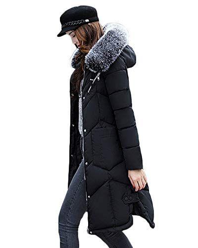 49218ee38a443b Yonglan Donna Lunga Giubbotto Piumino Invernale Slim Fit Leggero  Impermeabile Cappotto con Cappuccio Nero L