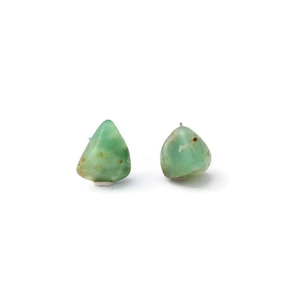 Lightly Tumbled Chrysoprase Stud Earrings Green by kazzycaboodles