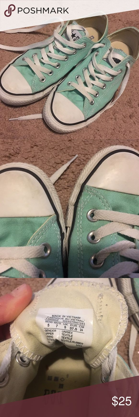 Mint Converse shoes Mint low top (below the heel) shoes! Are lightly worn but do have some scuffs on the front (shown in second photo) Converse Shoes Sneakers