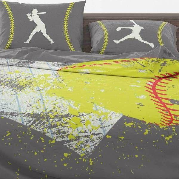 Softball Bedding Set All Color Series With Images Softball Bedding Set Bedding Set