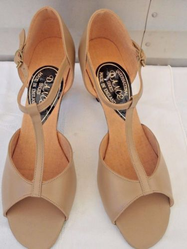 International-Dance-Shoes-Tan-Leather-Uppers-Suede-Insoles-amp-Soles-Sz-7-5-USA