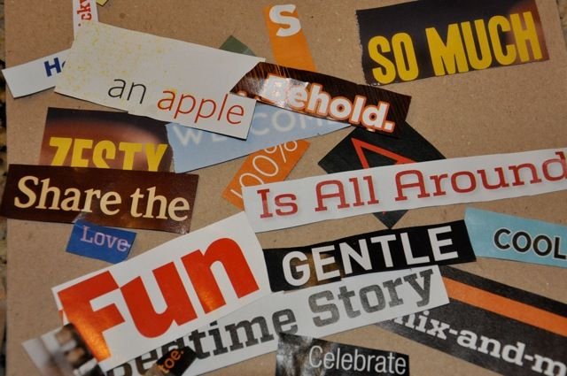 """Found Poetry and Word Sort. Aha! This will be perfect for (1) using the old, worn magazines in the library, (2) keeping student helpers busy cutting out words for this center (3) creating a big banner for the hall, with colorful student """"writing!"""""""