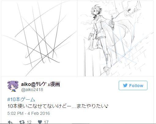 artis jepang menunjukan teknik menggambar Karakter Anime dengan 10-garis acak
