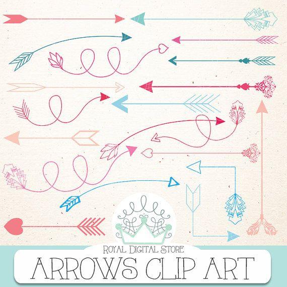 "Arrow clip art: "" ARROWS CLIP ART"" with arrow clipart, hand drawn arrows, digital arrow, arrows clipart + 1 Free old digital paper #blue #pink #tribal #digitalpaper #scrapbookpaper"