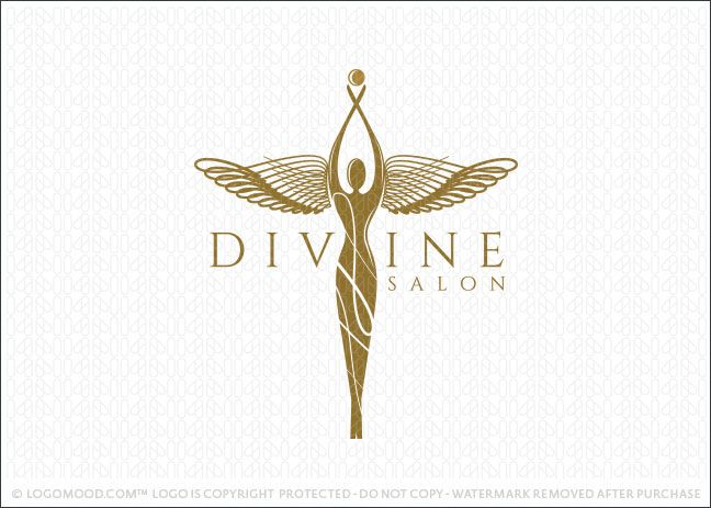 Logo for sale: Winged Woman figure designed in a sophisticated and elegant style. The woman's figure is adorned with unique and distinctive angel wings, which is the highlight of this logo design. The arms of the woman are in an upward position reaching to the sky with a golden ball/orb held in her hands. The entire design commands attention with this bold, dynamic and unique mythical female figure.