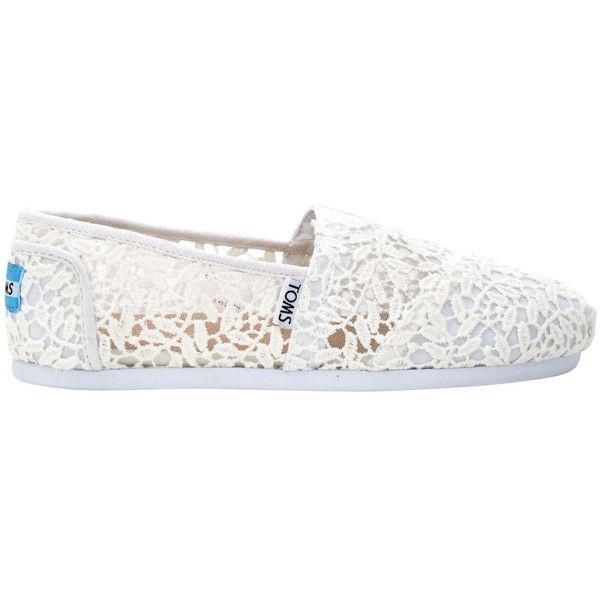 TOMS Alpargata Lace Slip On Espadrilles ($62) ❤ liked on Polyvore featuring shoes, sandals, white lace sandals, white slip on sandals, white espadrille sandals, slip on sandals and flat pumps