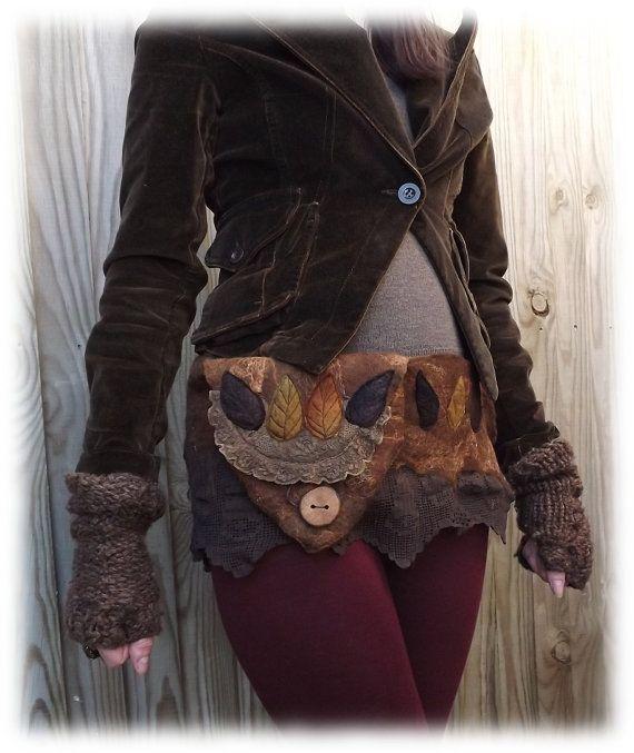 Brown Forest Hip Bag  Leafy hip bag by folkowl on Etsy, $70.00