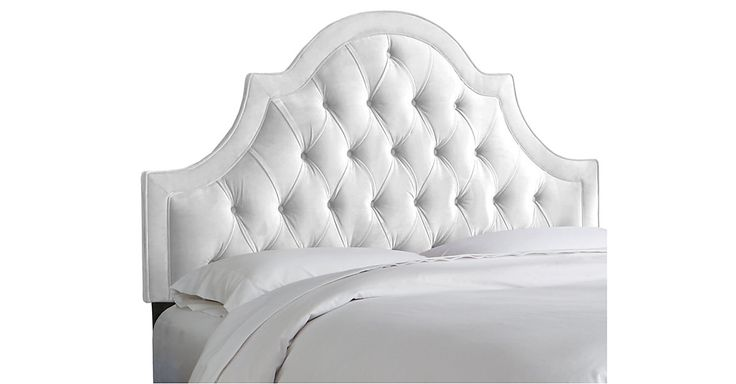 A One Kings Lane exclusive: Pairing a high-arching frame with white velvet upholstery, this tufted headboard makes a dreamy addition to any bedroom. We love how its generous padding offers soft,...