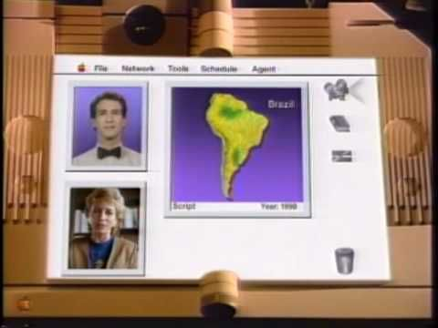 In Apple Computer's 1987 vision of the future (approximately 2011), industrial design hasn't changed for over two decades and we stand around drinking coffee while a computer-generated guy in a bow tie encourages passive-aggressive family avoidance tactics. They should have called it Knowledge Aggravator.