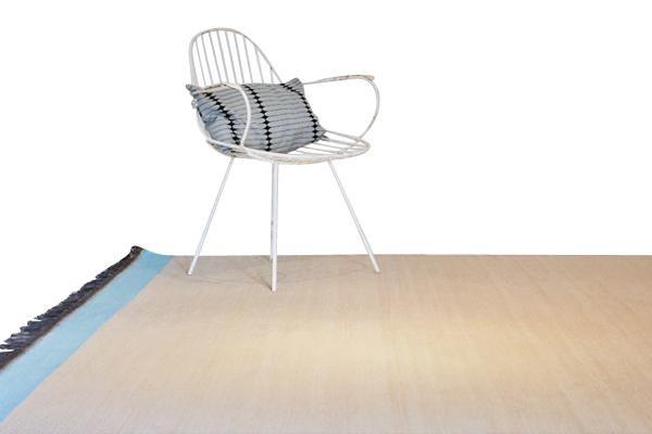 Tapijt - Fris blauw/Oranje detail - 350x250cm - Beige | Furnified