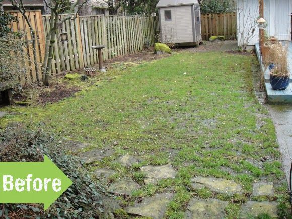 Before after path yard makeover flagstone narrow for Garden design ideas before and after