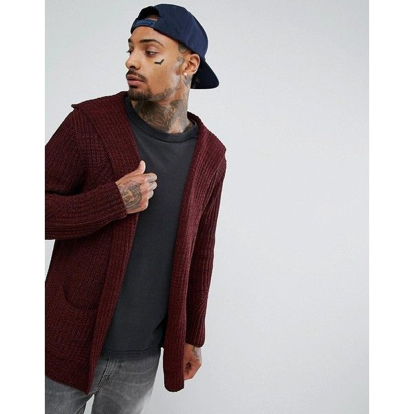 ASOS Ultimate Knitted Cardigan With Hood In Burgundy ($27